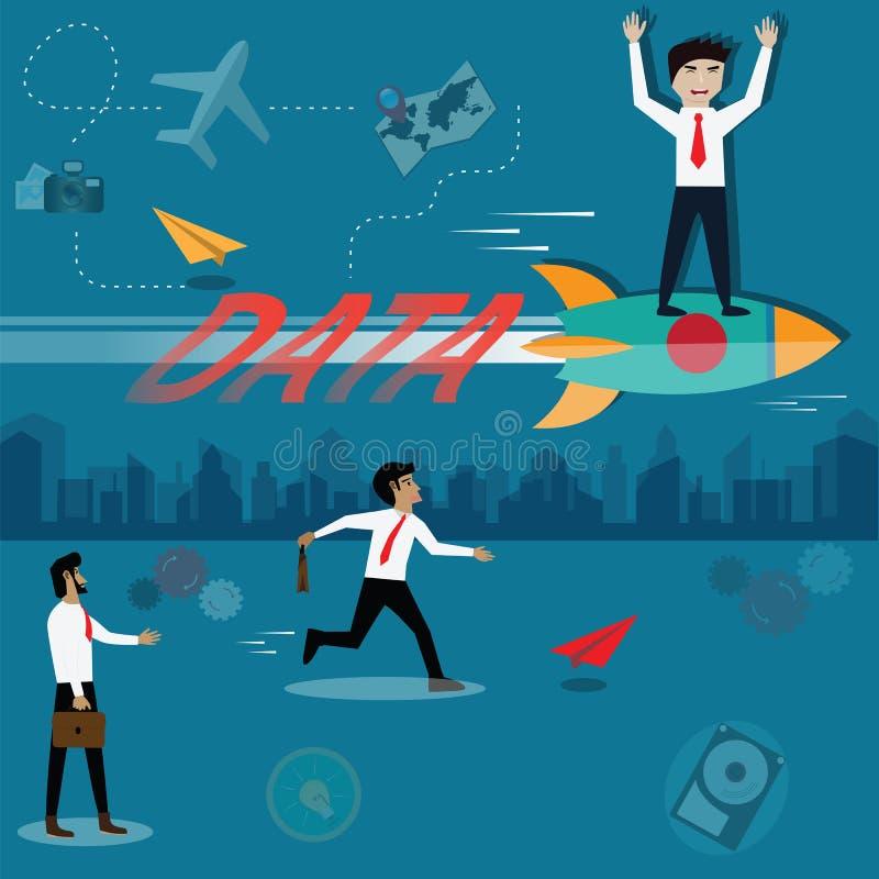 Concept de réussite commerciale, analytics de données, données d'utilisation pour le succès - V illustration de vecteur