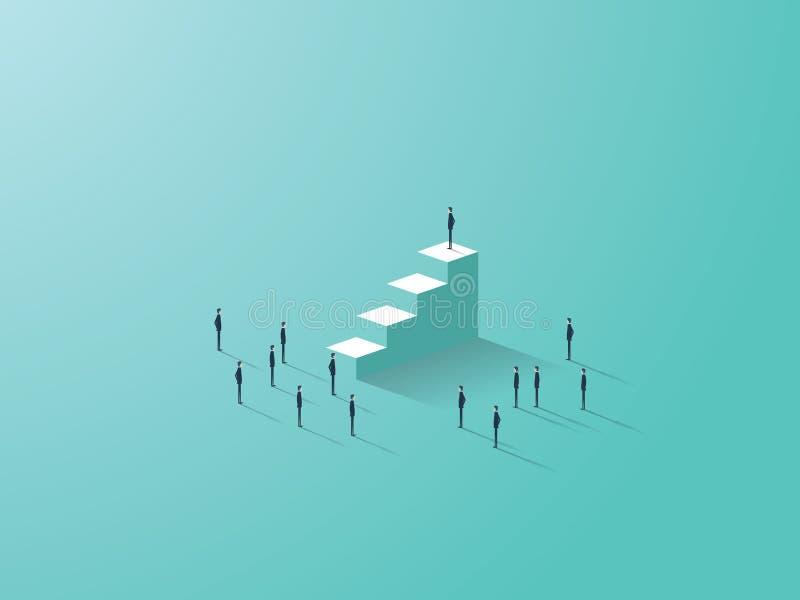 Concept de réussite commerciale avec l'homme d'affaires se tenant sur des escaliers, hommes d'affaires minuscules autour illustration stock