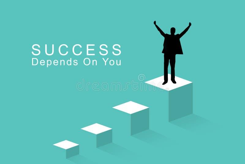 Concept de réussite commerciale, direction, accomplissement et concept de personnes - silhouette d'homme d'affaires sur a sur le  illustration stock