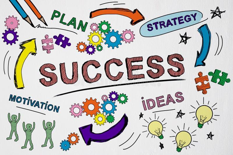 Concept de réussite, de finance et de marketing avec un plan d'affaires dessiné à la main illustration de vecteur