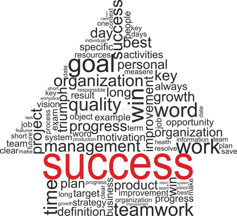 Concept de réussite. Flèche avec différentes associations illustration stock