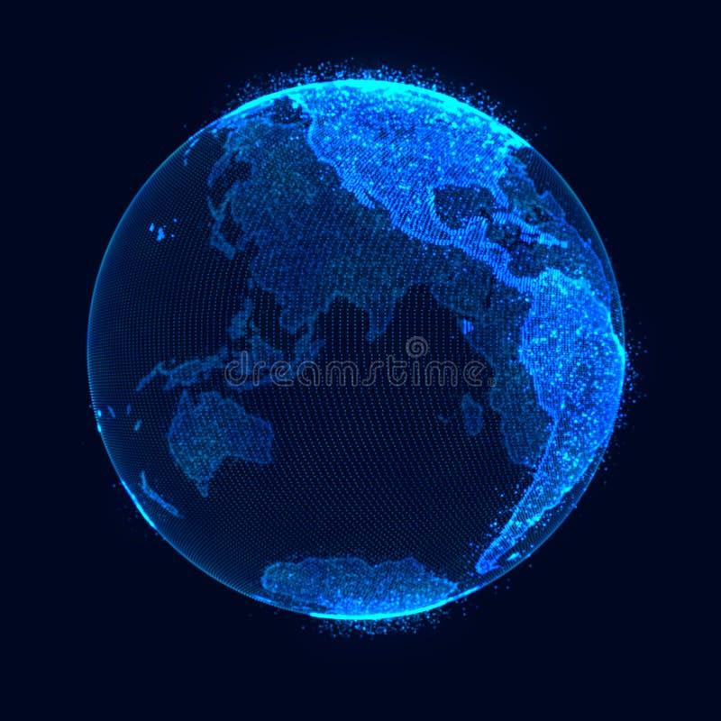 Concept de r?seau global Point de carte du monde La terre de plan?te de r?seau global rendu 3d illustration libre de droits