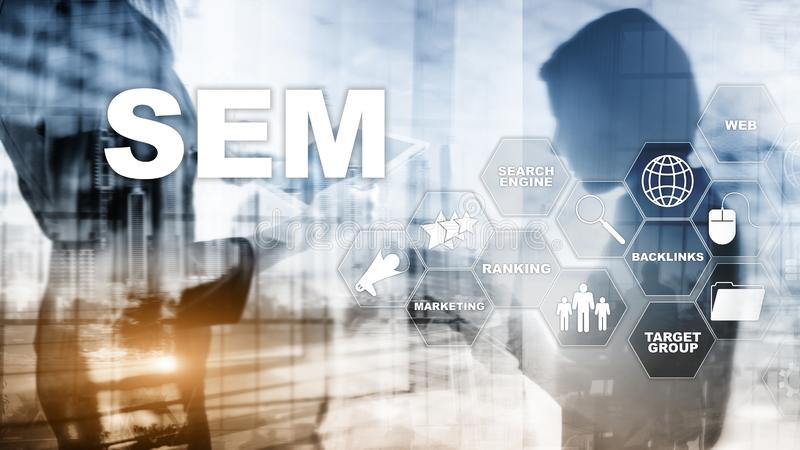 Concept de rang de communication de technologie d'affaires d'Internet de site Web du trafic de SEM Search Engine Optimization Mar photographie stock