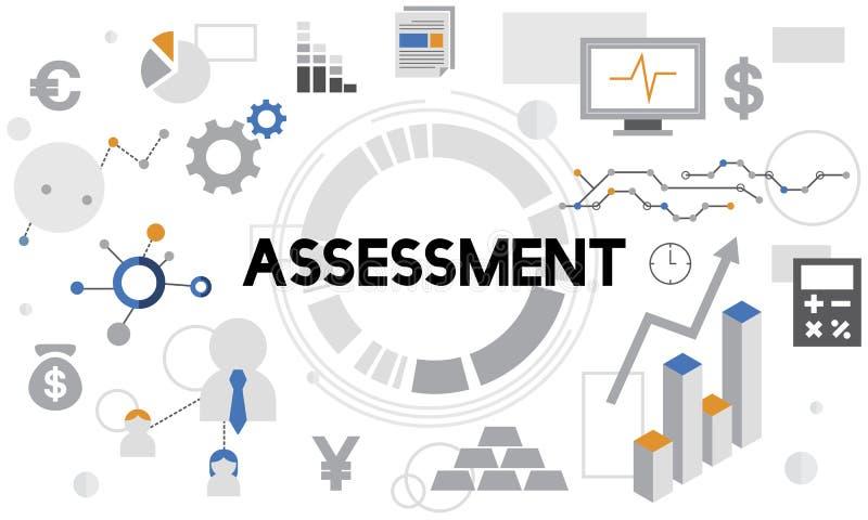 Concept de rapport de gestion d'analyse d'évaluation d'évaluation illustration de vecteur