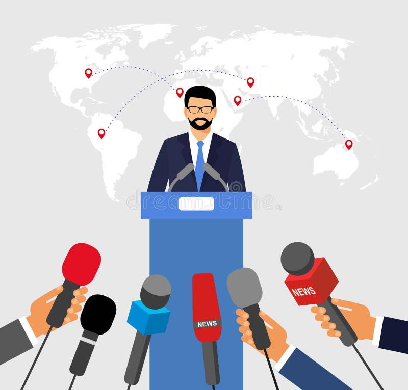 Concept de rapport vivant Conférence de presse Mains avec le microphone Actualités, entrevue, conférence de presse un homme dans  illustration libre de droits