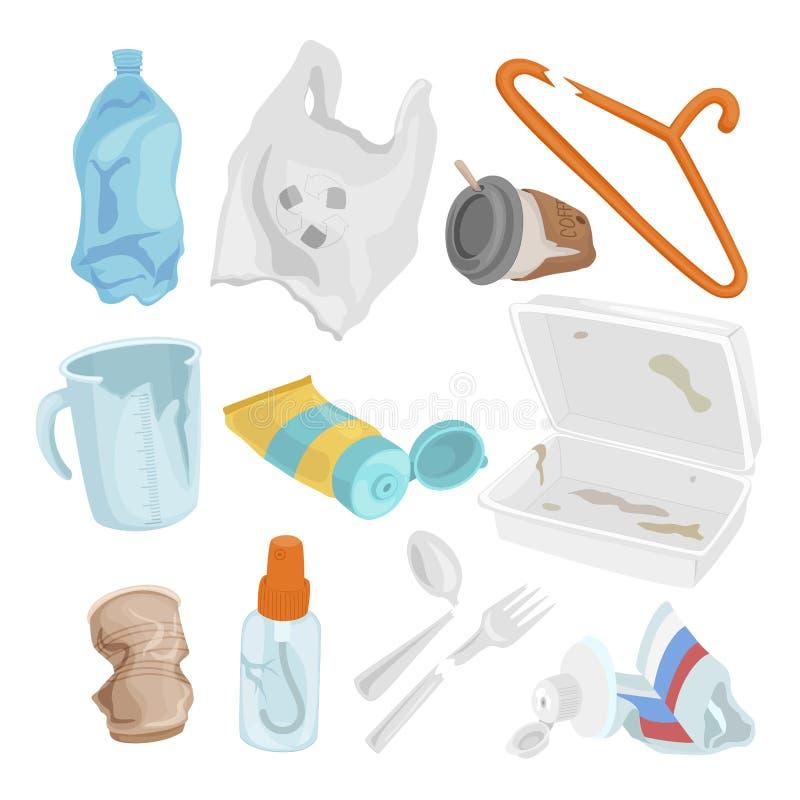 Concept de rebut en plastique d'ensemble, de pollution et d'environnement illustration de vecteur
