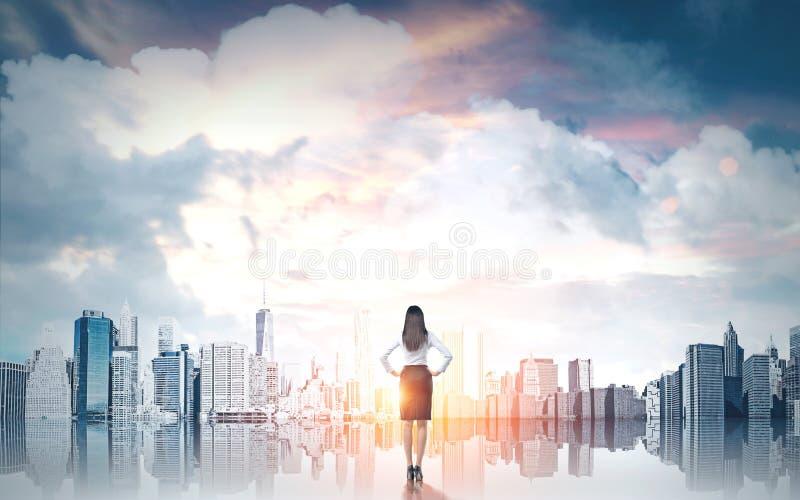 Concept de recherches avec la femme d'affaires image stock