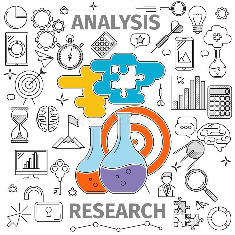 Concept de recherches d'analyse illustration libre de droits