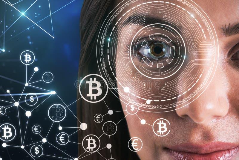 Concept de reconnaissance des visages et de bitcoin images libres de droits