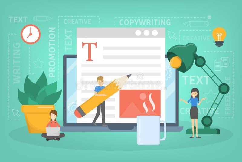 Concept de redacteur publicitaire Idée des textes d'écriture, créativité illustration stock