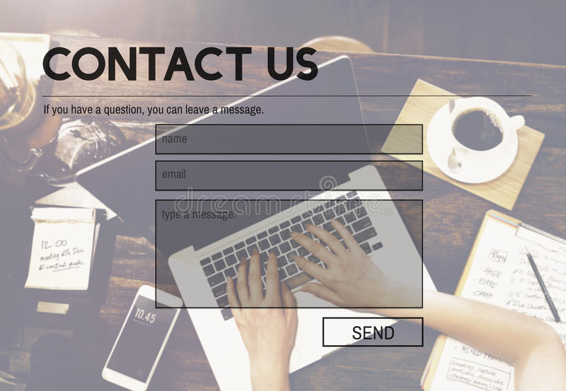 Concept de reflux de l'information de support après-vente de contactez-nous photos stock