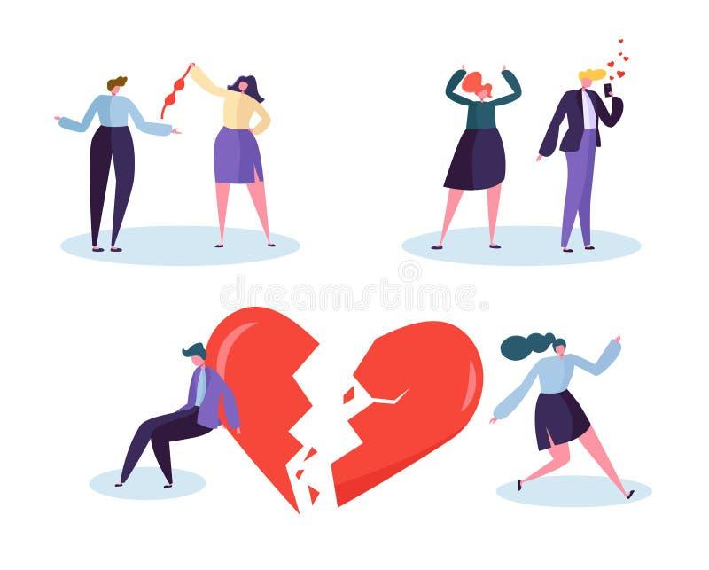Concept de relation d'amour de personnes du coeur brisé Jalousie suspecte malheureuse d'associé de mâle et de personnage féminin  illustration de vecteur