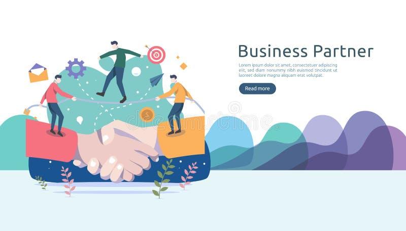 Concept de relation d'association d'affaires avec la secousse de main et le caractère minuscule de personnes équipe travaillant e illustration stock
