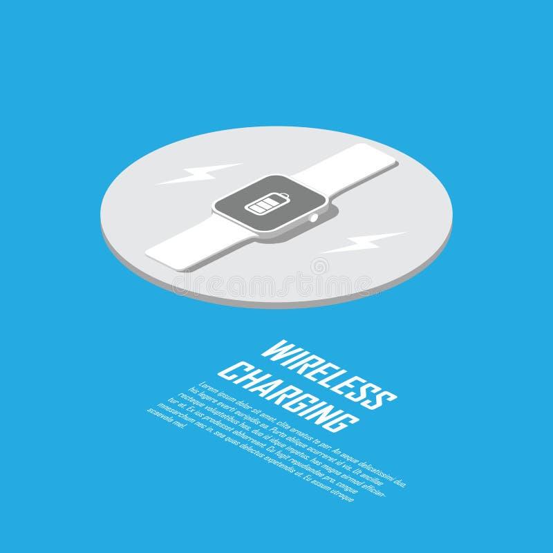 Concept de remplissage sans fil pour la technologie futée Chargeur de Smartwatch sans câble illustration de vecteur