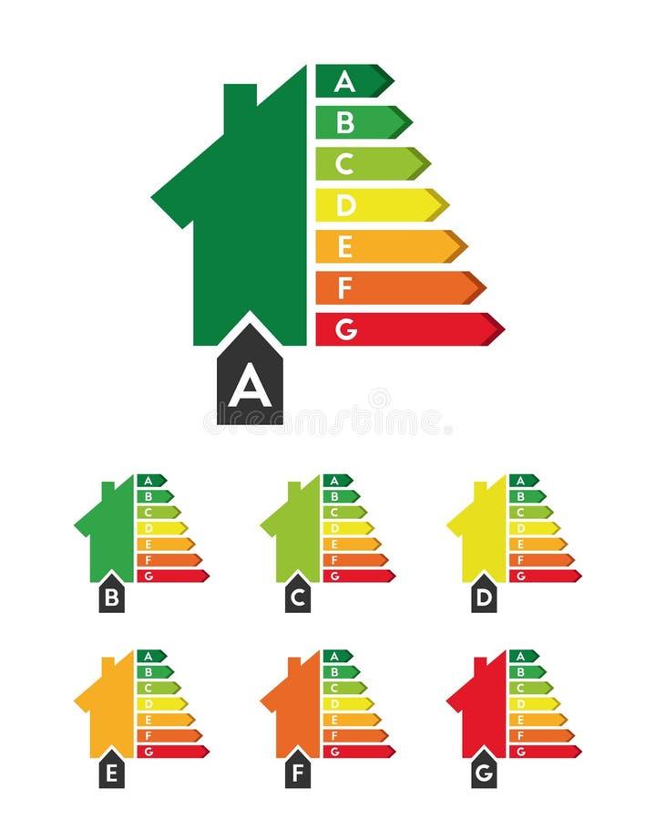 Concept de rendement énergétique avec l'ensemble de maison illustration libre de droits