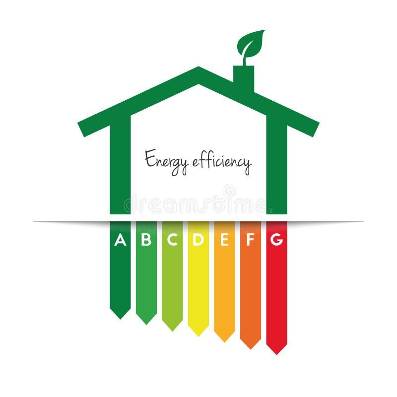 Concept de rendement énergétique avec la maison et la feuille efficaces illustration de vecteur