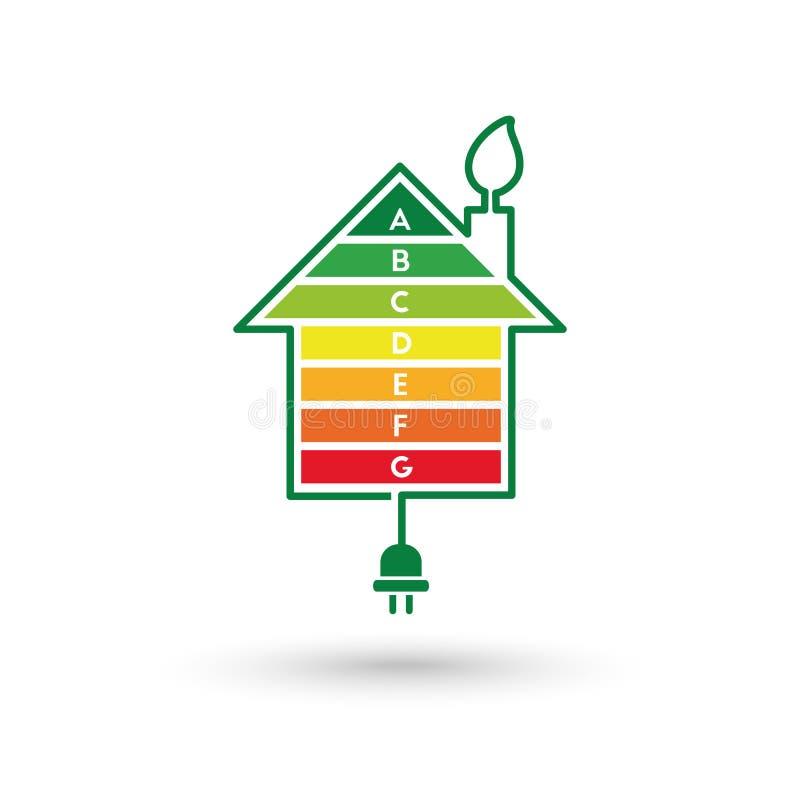 Concept de rendement optimum de maison avec des barres de graphique de classification illustration stock