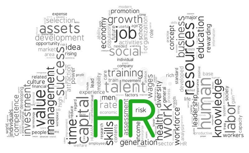 Concept de ressources humaines en nuage de tags illustration libre de droits