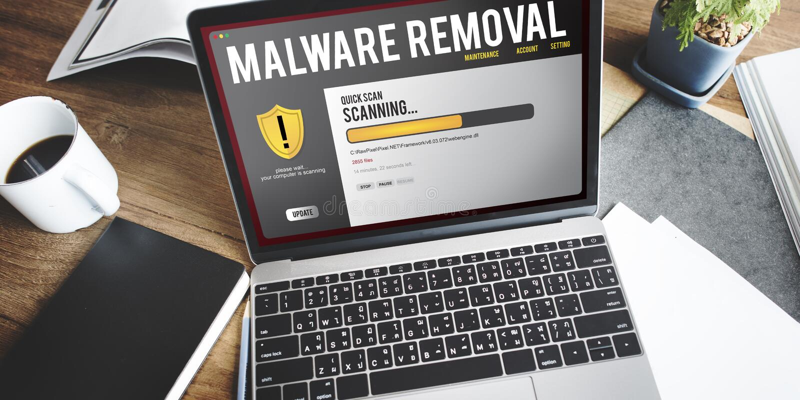 Concept de retrait de Malware de pare-feu de protection de fichier de données photos libres de droits