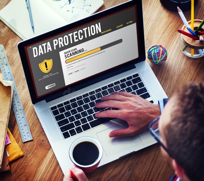 Concept de retrait de Malware de pare-feu de protection de fichier de données photos stock