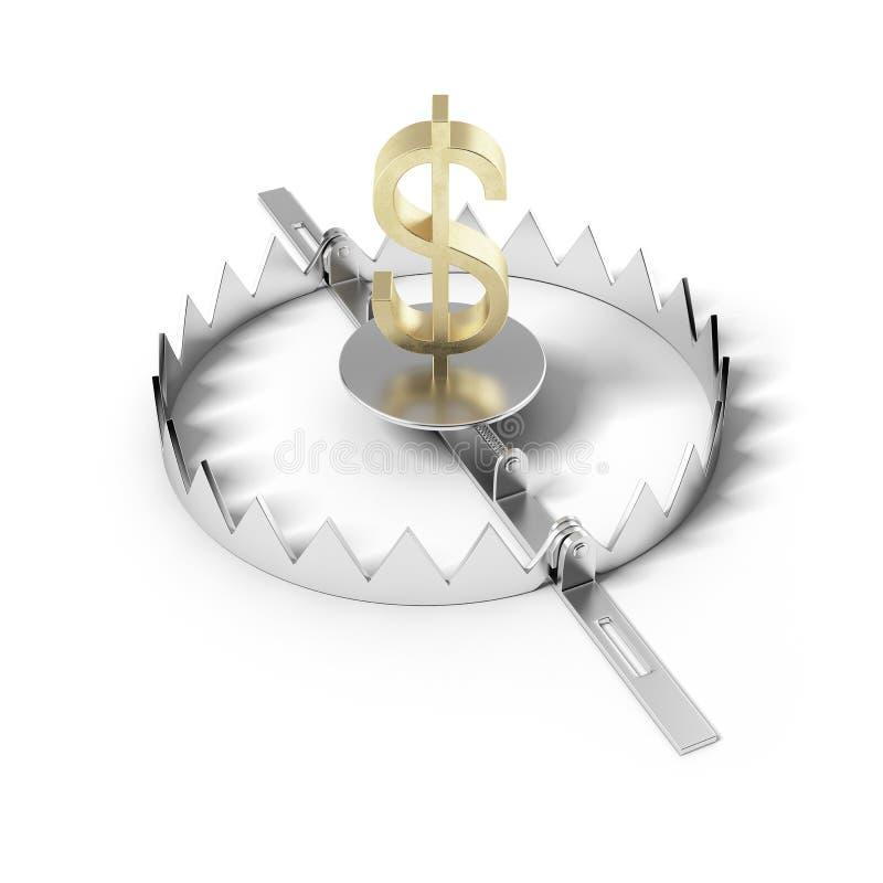 Concept de risque de finances. Dollar de signe sur la trappe d'ours. illustration de vecteur
