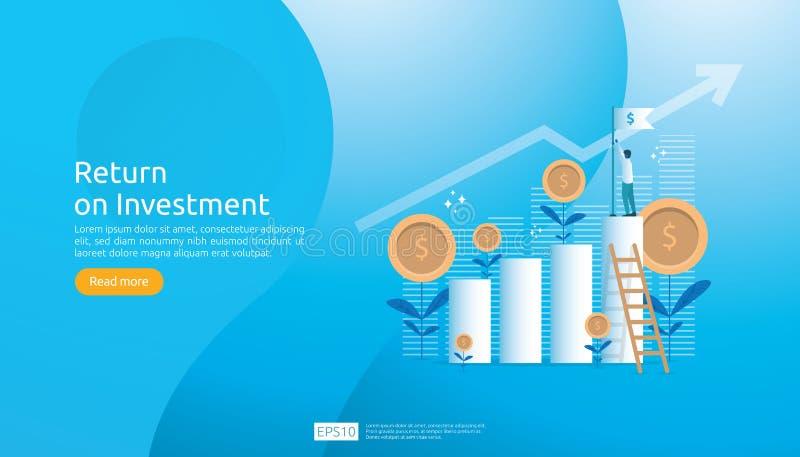 Concept de ROI de retour sur l'investissement E r b?n?fice d'augmentation de diagramme illustration libre de droits