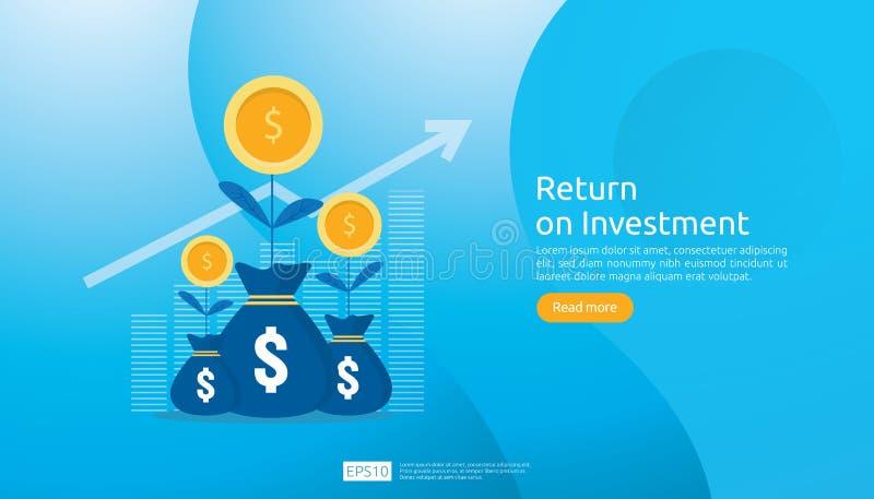 Concept de ROI de retour sur l'investissement E r b?n?fice d'augmentation de diagramme illustration stock