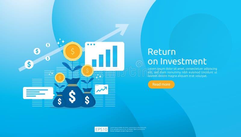 Concept de ROI de retour sur l'investissement E r b?n?fice d'augmentation de diagramme illustration de vecteur
