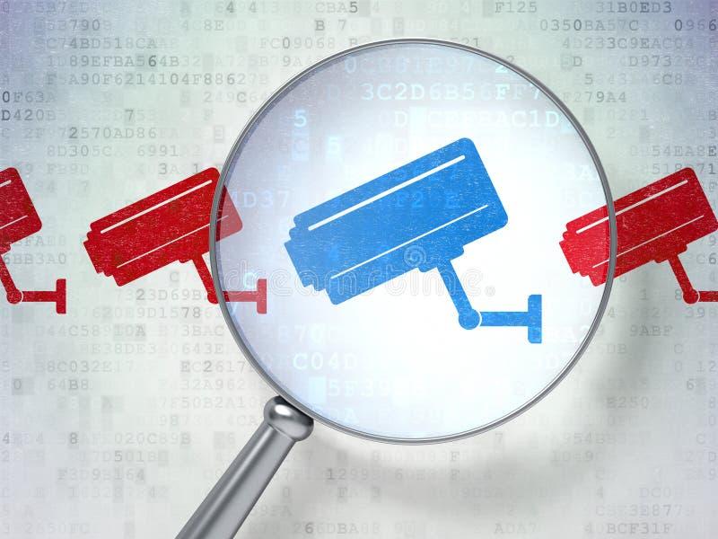 Concept de sécurité : Appareil-photo de télévision en circuit fermé avec le verre optique sur le dos numérique illustration de vecteur
