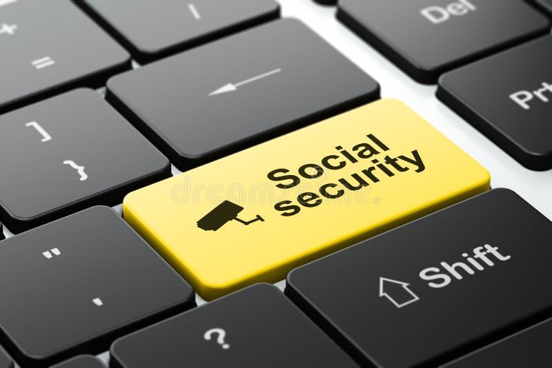 Concept de sécurité : Appareil-photo de télévision en circuit fermé et sécurité sociale sur l'ordinateur illustration libre de droits