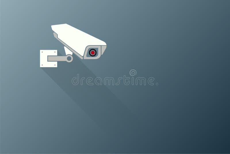 Concept de sécurité, appareil-photo de télévision en circuit fermé fixé à un mur noir de fond dehors Illustration illustration de vecteur