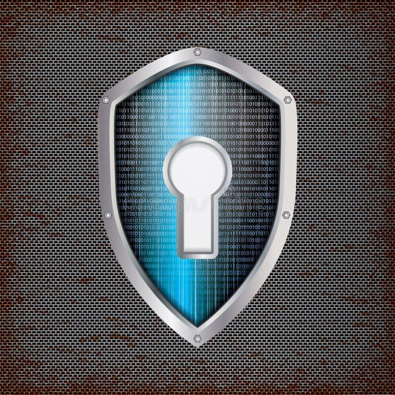 Concept de sécurité : bouclier bleu illustration stock