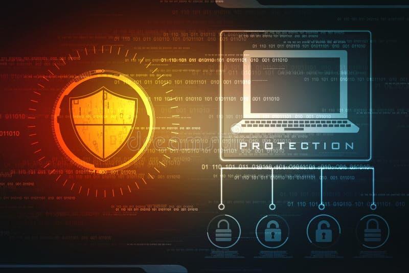 Concept de sécurité : bouclier sur l'écran numérique, fond de concept de sécurité de cyber illustration de vecteur