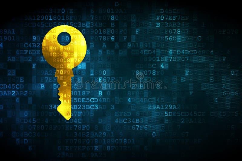 Concept de sécurité : Clé sur le fond numérique illustration de vecteur