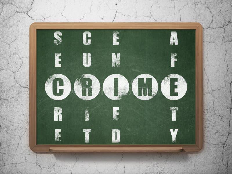 Concept de sécurité : crime de mot en résolvant des mots croisé illustration stock