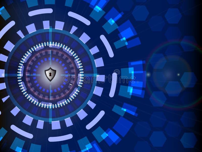 Concept de sécurité de Cyber numérique avec le fond de technologie de cercle, illustration de vecteur illustration de vecteur