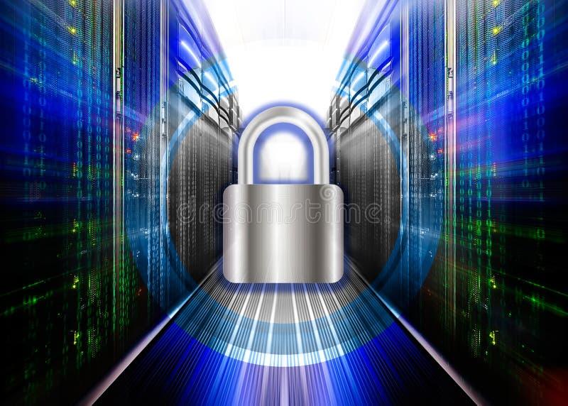 Concept de sécurité de réseau - le serveur s'est fermé avec le cadenas, sécurité de base de données illustration de vecteur