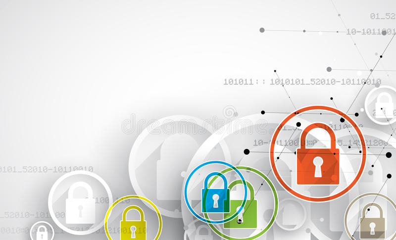 Concept de sécurité de technologie Fond numérique de sécurité moderne illustration de vecteur