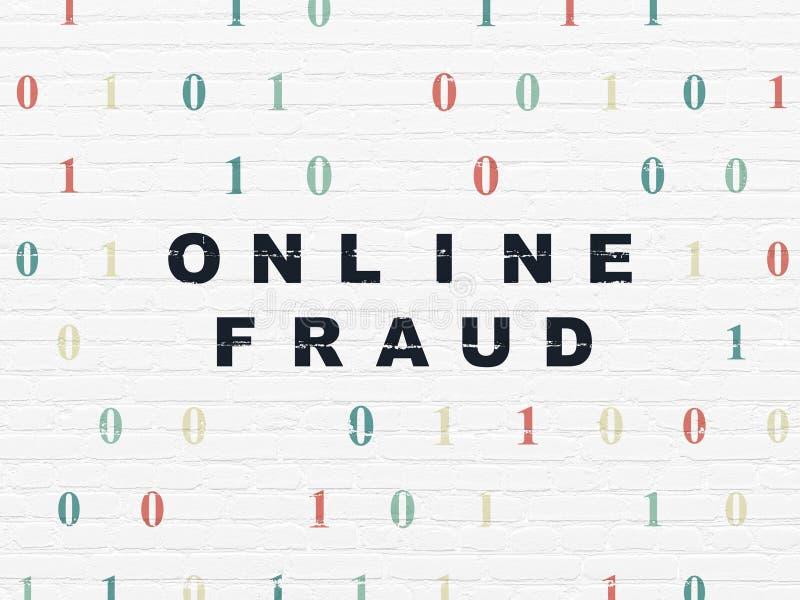 Concept de sécurité : Fraude en ligne sur le fond de mur photographie stock