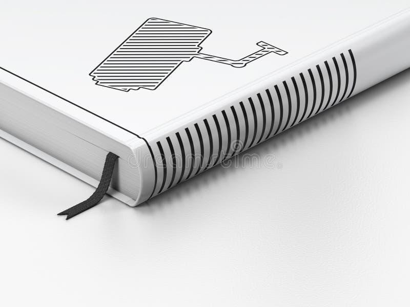 Concept de sécurité : livre fermé, appareil-photo de télévision en circuit fermé dessus illustration libre de droits