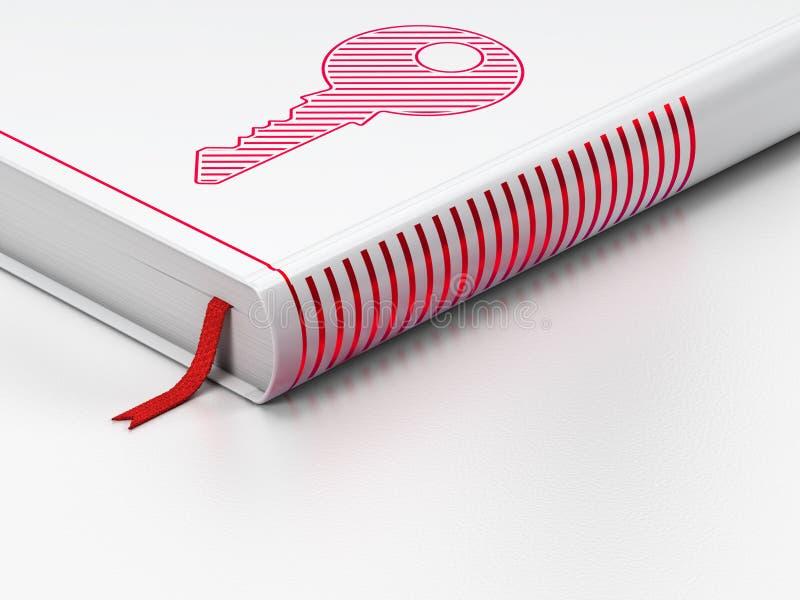 Concept de sécurité : livre fermé, clé sur le blanc illustration de vecteur