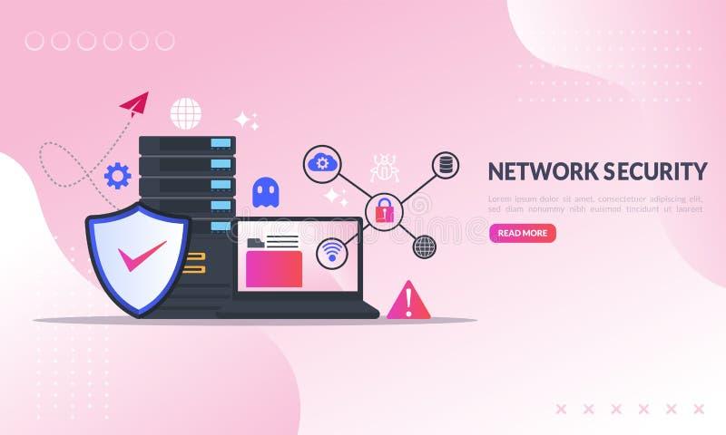 Concept de sécurité de réseau, protection des données sûre et personnelle de base de données, chiffrage du trafic, VPN, protectio illustration stock