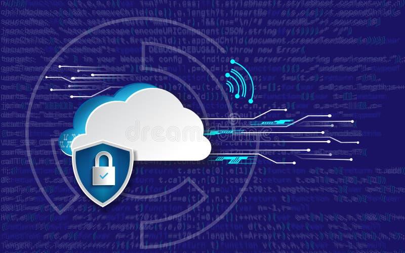 Concept de sécurité de technologie Fond numérique de Web moderne de sécurité Système de protection illustration libre de droits
