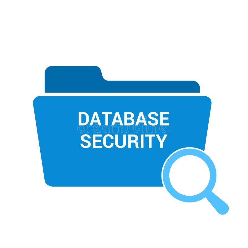 Concept de sécurité : Verre optique de agrandissement avec la sécurité de base de données de mots illustration de vecteur
