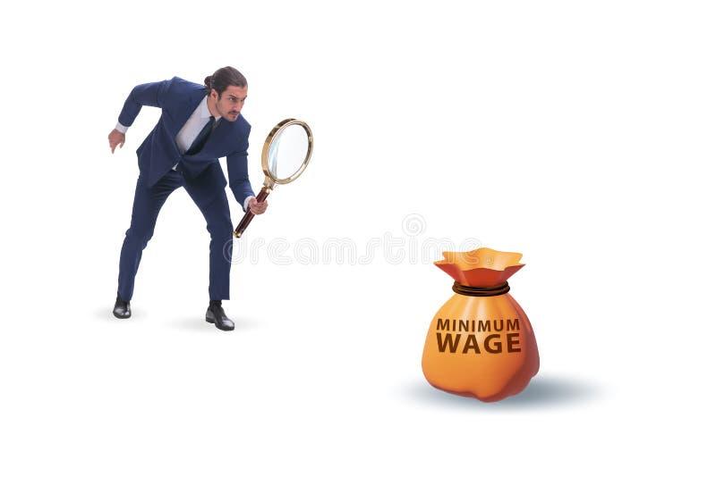 Concept de salaire minimum avec un homme d'affaires image stock