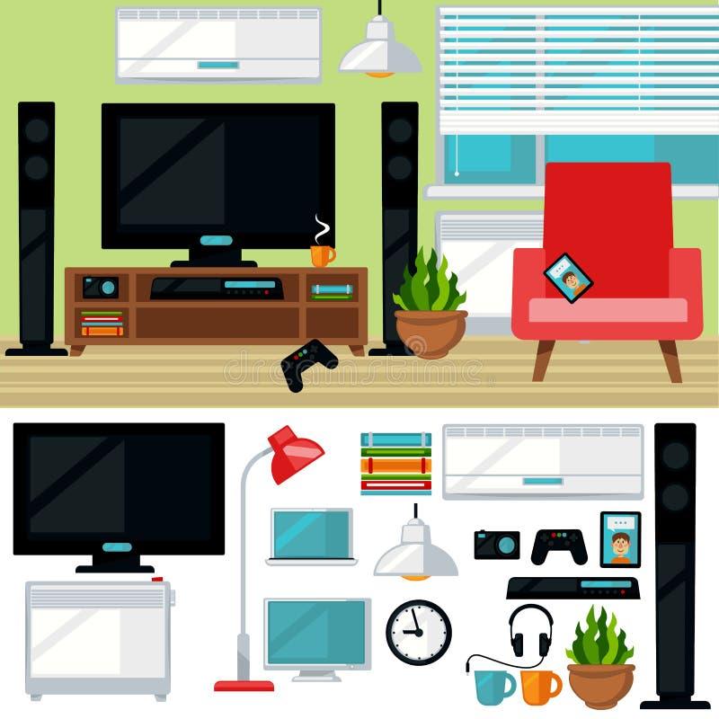 Concept de salon créatif avec la chaise et la TV illustration stock