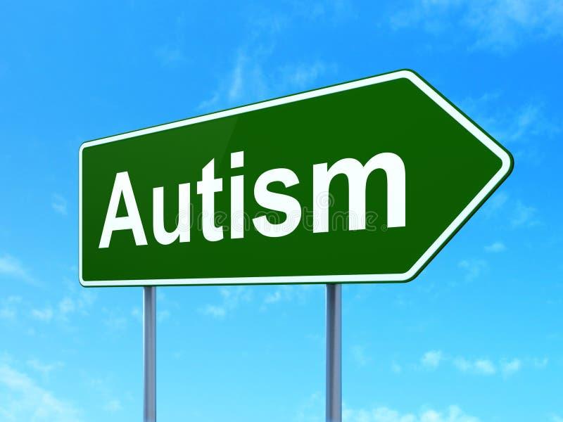 Concept de santé : Autisme sur le fond de panneau routier illustration de vecteur