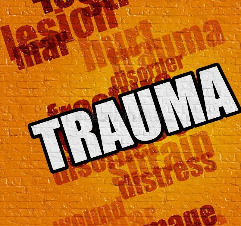 Concept de santé : Traumatisme sur le mur jaune illustration stock