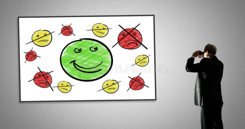 Concept de satisfaction du client sur un tableau blanc images libres de droits