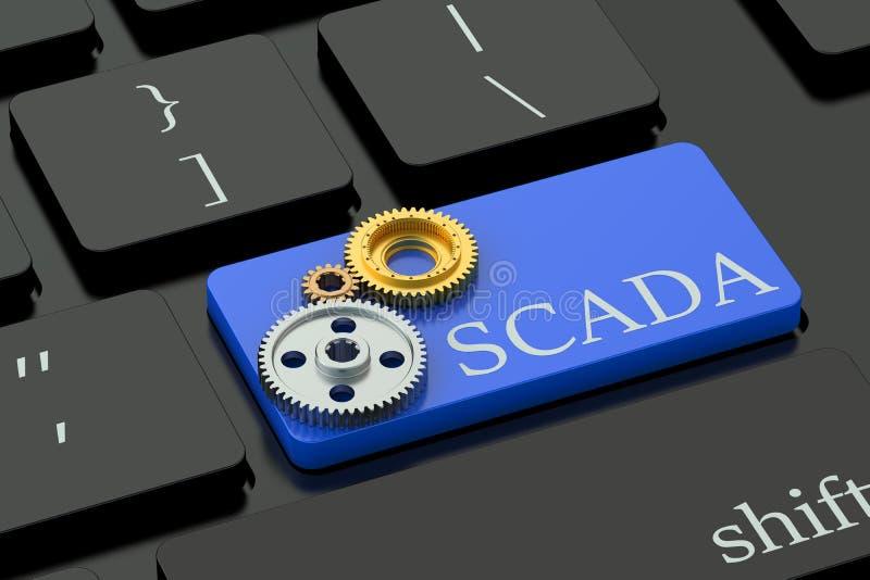 Concept de SCADA sur le bouton de clavier illustration stock